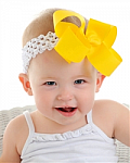 Basic Grosgrain White Crochet Baby Headband