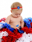 Blue Patriotic Star Newborn Headbands