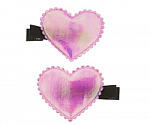 Iridescent Heart Hair Clippies