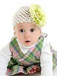 Light Green Gerber Daisy Crochet Baby Hat