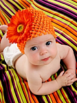 Orange Gerber Daisy Crochet Baby Hat