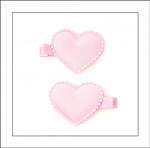 Pink Satin Heart Hair Clippies