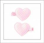 Pink Swiss Dots Heart Hair Clippies