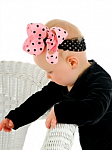 Pink and Black Polka Dots Crochet Baby Headband