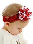 Red and White Korker Baby Headband