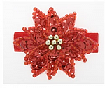 Sequin Red Flower Hair Clippy