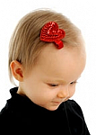 Sequin Red Heart Hair Clippie