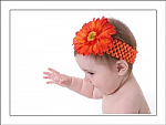 Orange Crochet Gerber Daisy Baby Headband