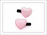 Pink Sparkle Heart Hair Clips
