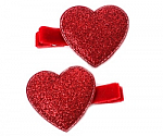 Red Sparkle Heart Hair Clippies